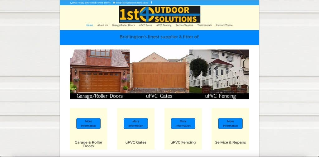 screenshot of home page of website for 1st4outdoorsolutions