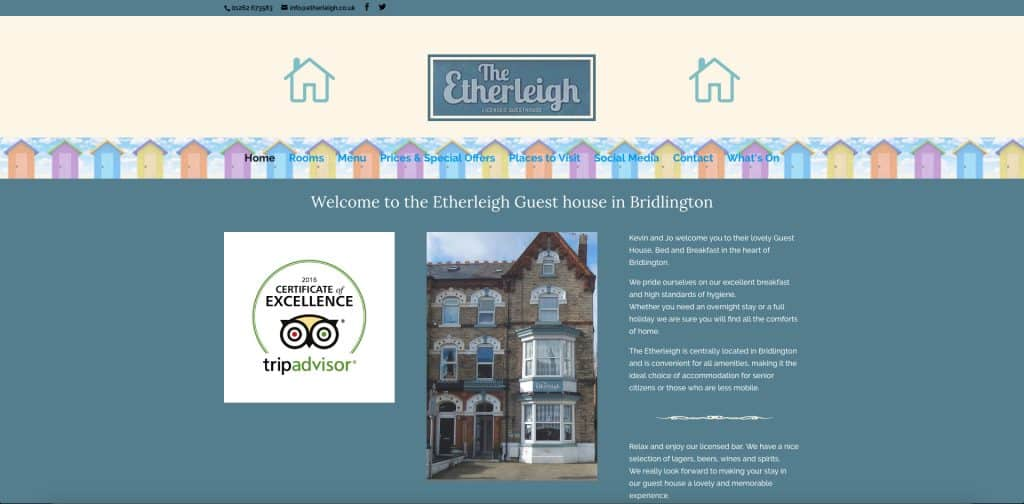 screenshot of home page of website for etherleigh b&b
