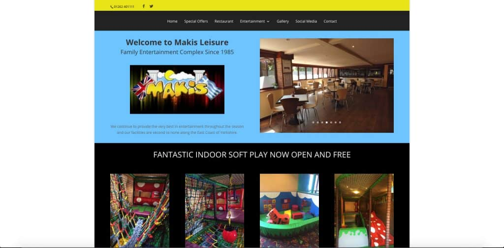 screenshot of home page of website for makis leisure