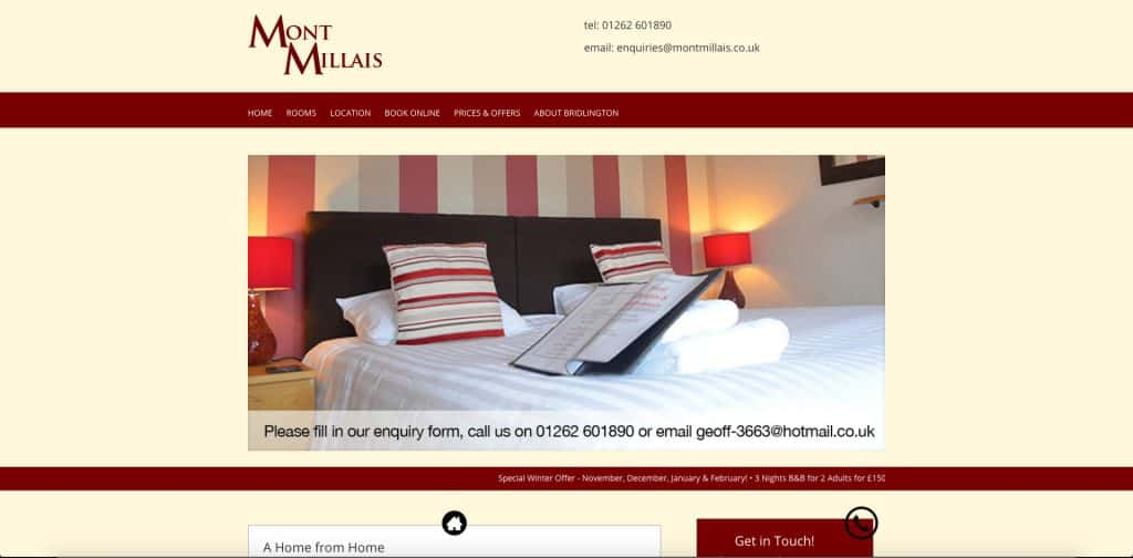screenshot of home page of website for montmillais b&b