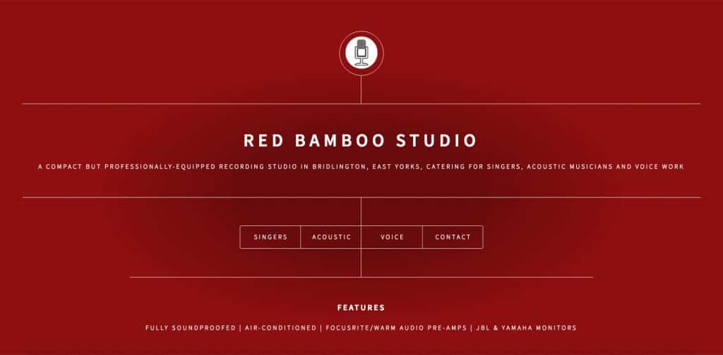 screenshot of home page of website for red bamboo studio